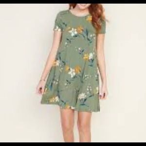 NEW Old Navy green floral swing dress XL